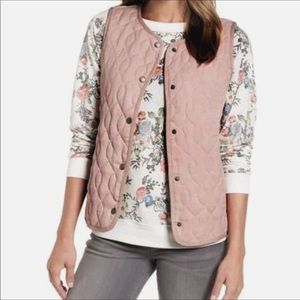 Caslon Blush Pink Quilted Snap Button Vest Sz XL